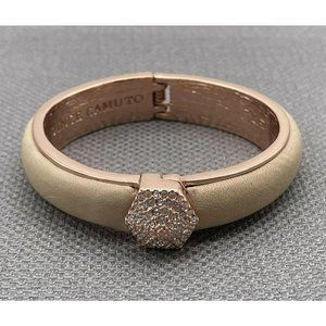 Vince Camuto Rose Gold Tone Hexagon Stud Leather H
